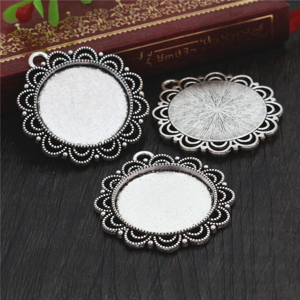 New Fashion  3pcs 25mm Inner Size Antique Silver Plated Cool Style Cabochon Base Setting Charms Pendant (A6-37)