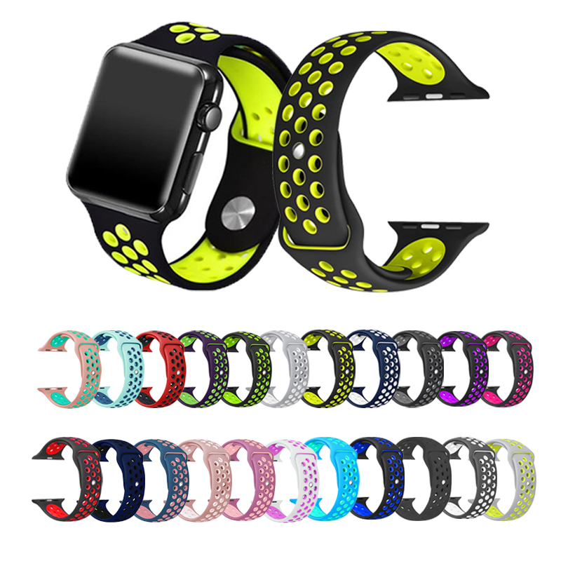 Breathable Sport Watch Band For Apple Watch5 4 44/40mm Nike Silicone Watch Band Bracelet Strap For Iwatch 3 2 1 42/38mm Wristban