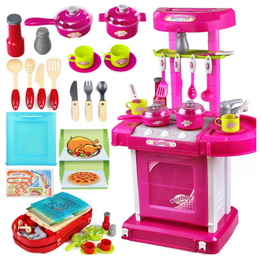 1set Portable Electronic Children Kids Kitchen Cooking Girl Toy Cooker Play Set For Baby Pretend Play Toys Birthday Gifts