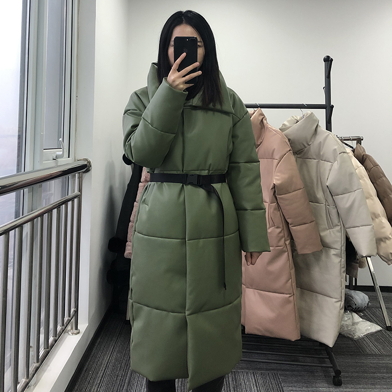 Winter Warm Leather Parkas Women Fashion Straight Loose Pockets Coats Women Elegant Long Cotton Jackets Female