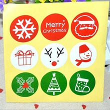 90pcs/pack Wrapping Paper Products Gift Christmas Theme Tri-color Round Sealing Stickers