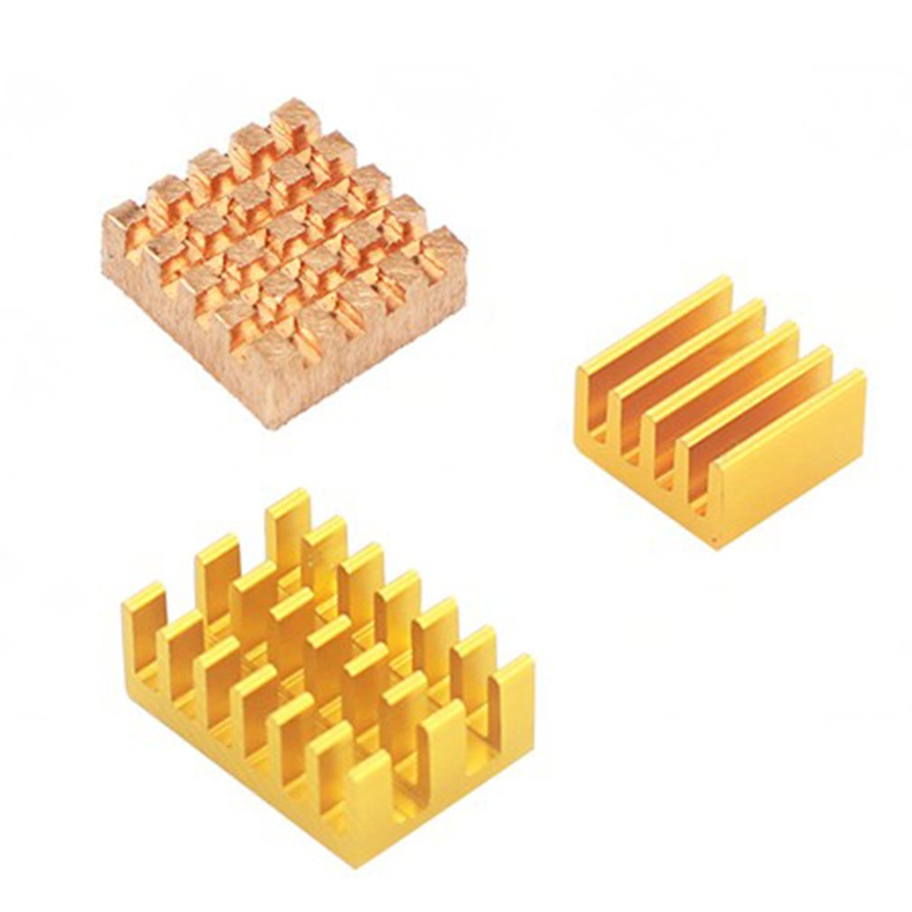 For Raspberry Pi 4 Model B Heat Sink 3pcs Raspberry Pi 4B Copper Cooling Pad Heatsink Radiator Cooling Kit Cooler