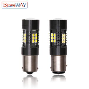 BraveWAY 2pcs P21W 1156 BA15S LED Bulbs Car Lights Turn Signal Reverse Brake Light 1157 LEDs 12V DC Automobiles Lamp DRL