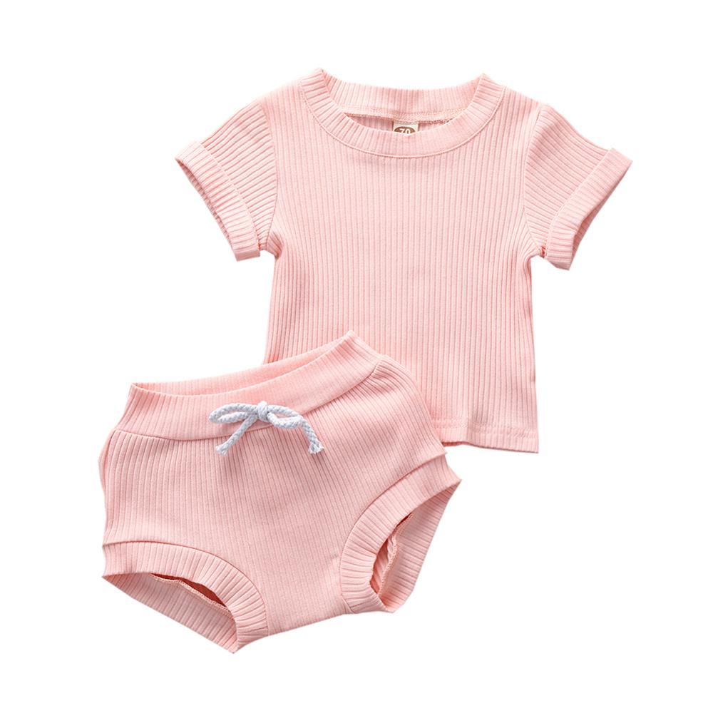 New Toddler <font><b>Baby</b></font> Girl Clothes Knitted Tops Long Sleeve Pure Color T-Shirt Shorts PP Pants Outfits 2Pcs Set Summer <font><b>Clothing</b></font> image