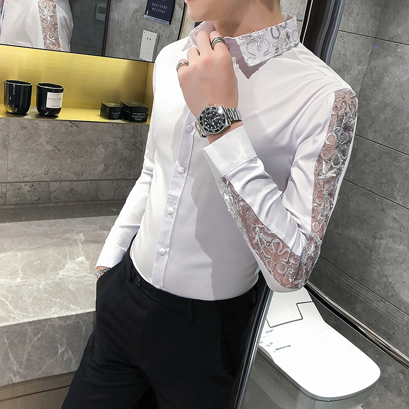British Style Sexy Lace Long Sleeve Shirt Men Fashion 2020 Streetwear Slim Fit Men Casual Shirts Night Club Prom Tuxedo 4XL-M
