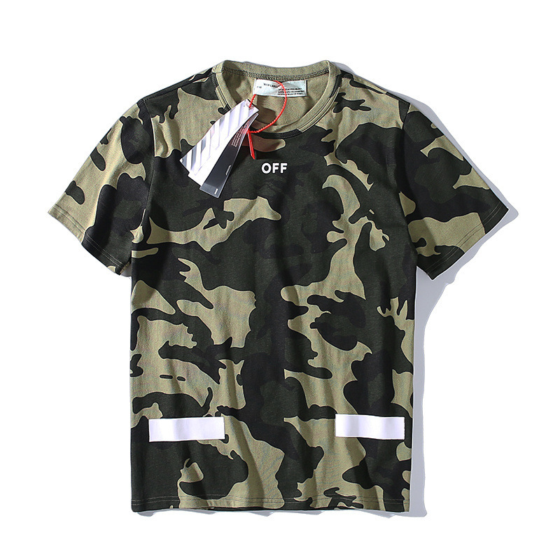 Ow Popular Brand Off White 2019 Summer Camouflage Classic Arrowhead Printed Men And Women Celebrity Style Pure Cotton Short-slee