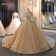 2020 New long sleeves champagne color wedding dress with full pearls beading