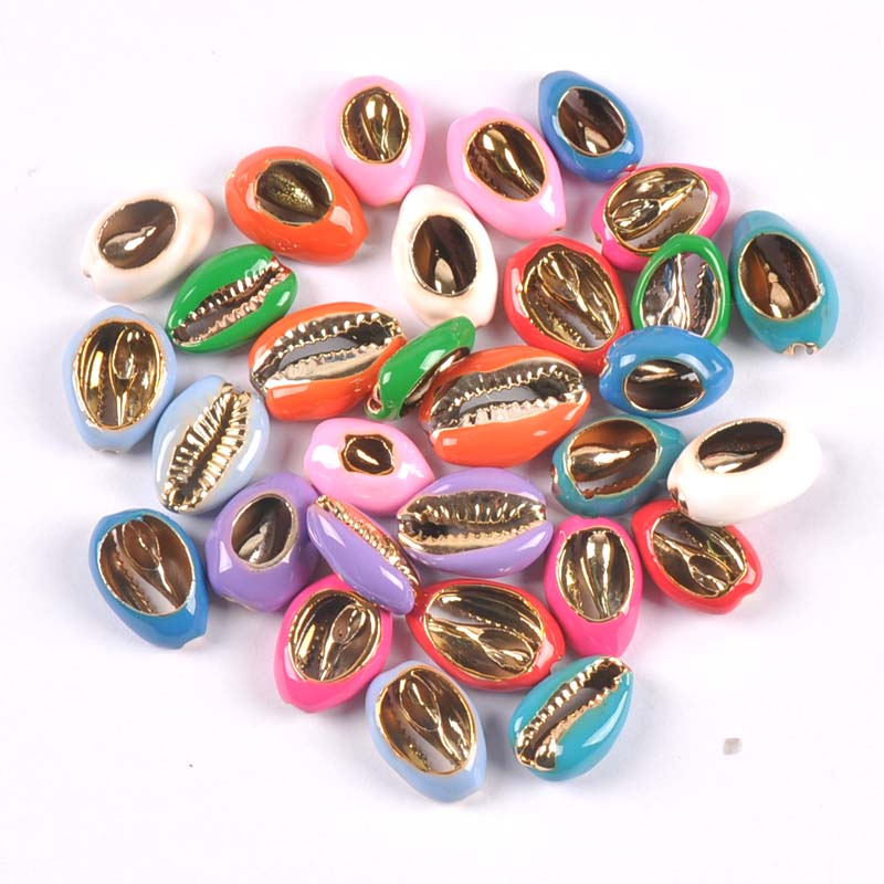 10pcs Natural Cut Cowrie Enamel Shells Golden Plated Seashell Conch Beads Jewelery Handmade Craft Accessories DIY Trs0353