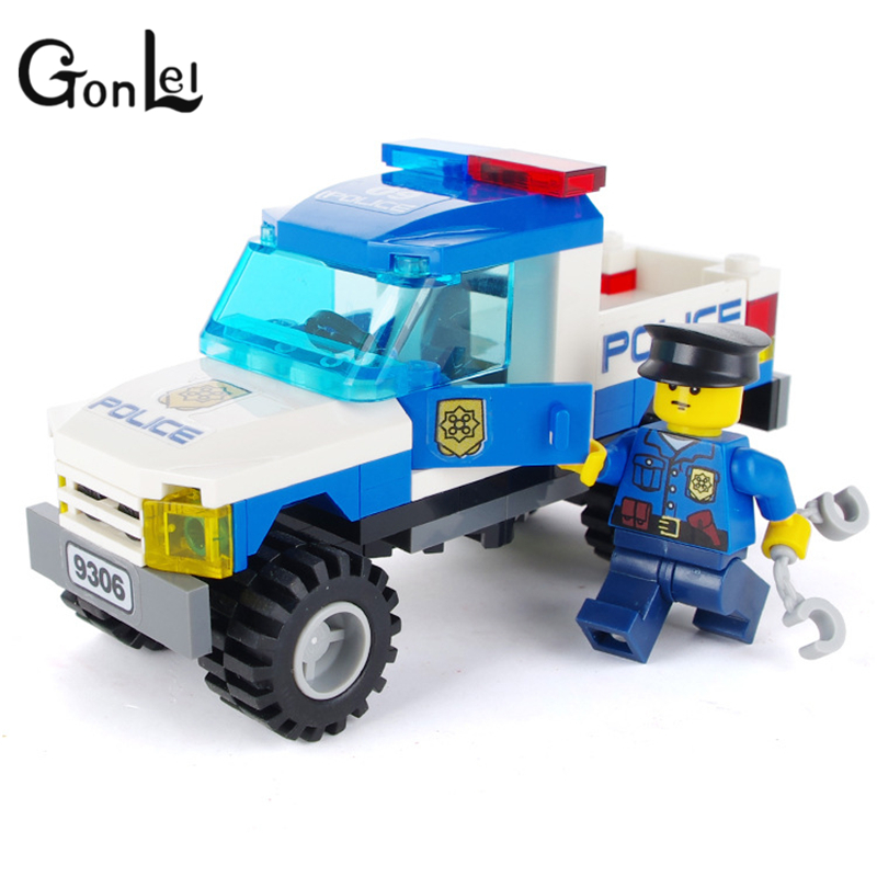 Image 4 - 9306 Legoinglys Police Truck Blocks Toys for Children Model Building Kits Small Particles Assembled Truck Blocks Christmas Toys-in Blocks from Toys & Hobbies