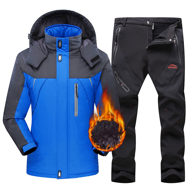 Ski Suit Men Fleece Warm Skiing Snowboarding Jacket Sets Waterproof Windproof Winter Trekking Hiking Snow Ski Jacket And Pants