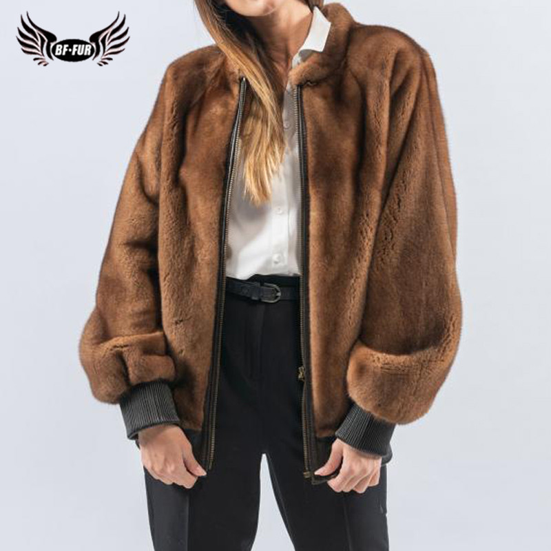 High Quality Real Mink Fur Jacket For Women Winter Outwear Fashion Coats Natural Full Pelt Genuine Mink Fur Coats With Zipper