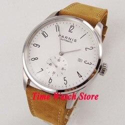 42mm Parnis ST1731 automatyczny męski zegarek polerowana biała tarcza srebrne dłonie cyfry arabskie wyświetlanie daty z powrotem przejrzeć watch wrist watch watch wristwatch men -