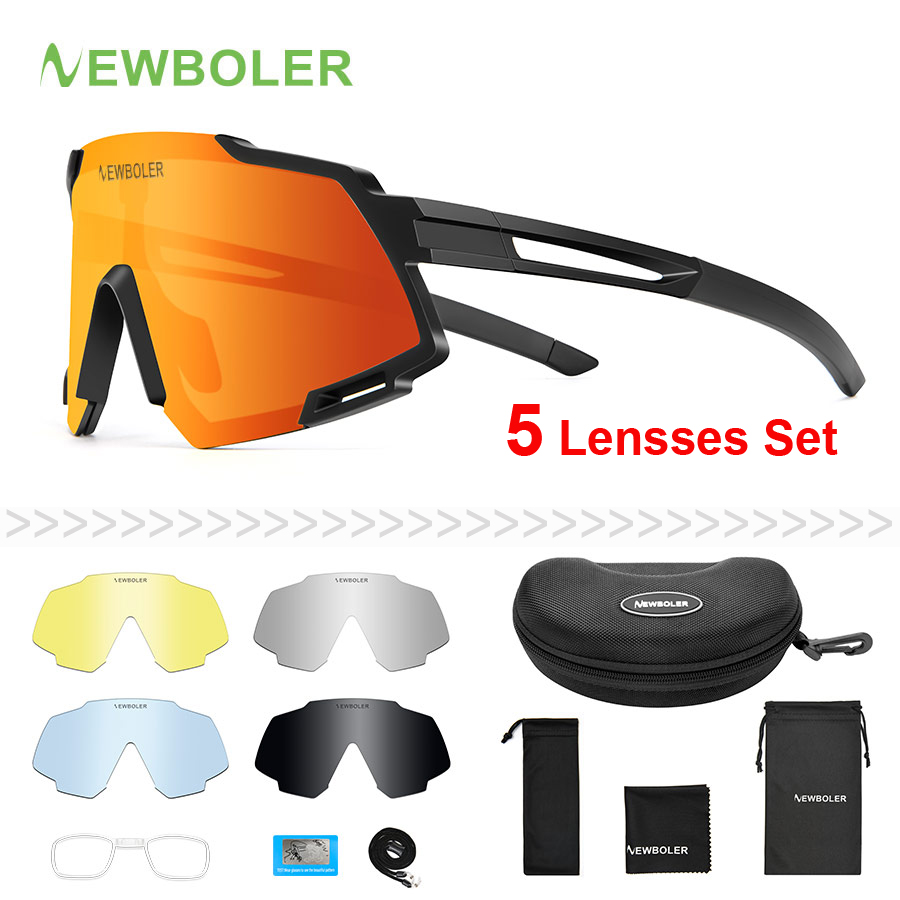 NEWBOLER Polarized Sports Men Sunglasses Road Cycling Glasses Mountain Bike Bicycle Riding Protection Goggles Eyewear 5 Lens