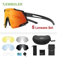 NEWBOLER 편광 된 스포츠 남자 선글라스 도로 사이클링 안경 산악 자전거 자전거 타고 보호 고글 안경 5 렌즈