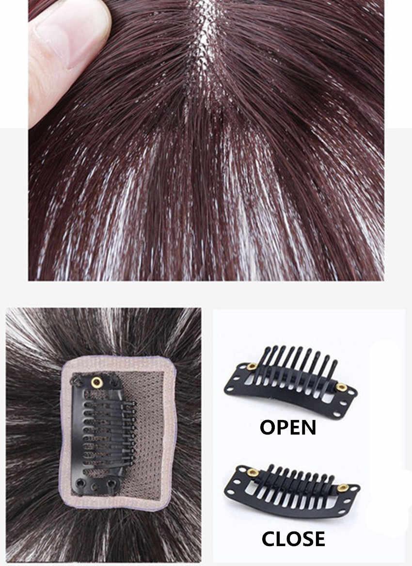 Halo Lady güzellik hava patlama kadınlar için klip patlama brezilyalı insan saçı patlama şeffaf olmayan remy yedek saç peruk