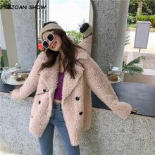 2019 Winter Notched Collar Curly Hairy Shaggy Faux leather Fur Coat Long sleeve Furry Faux Fur Women Jacket Short Outerwear(China)