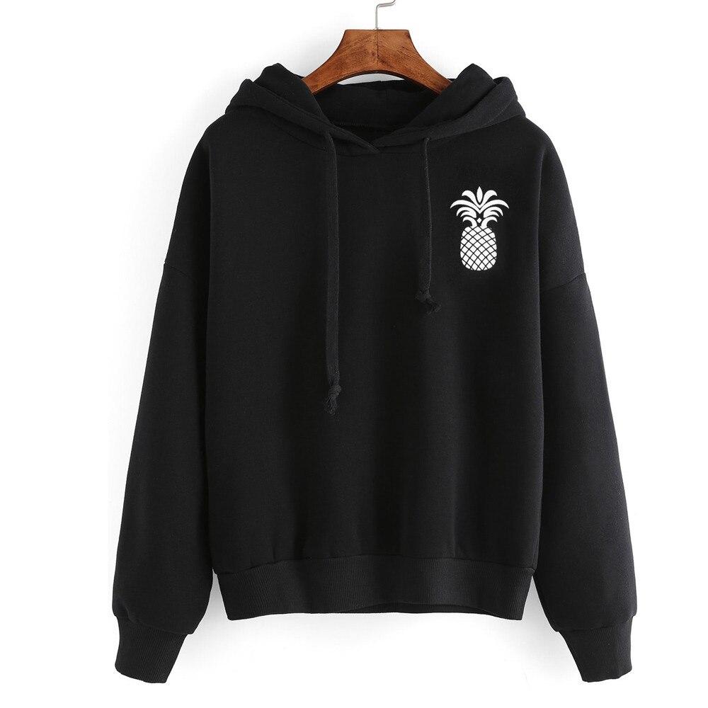 2019 Women Hoodie Fashion Pineapple Print Black Hooded Pullover Female Drawstring Sweatshirt L0723