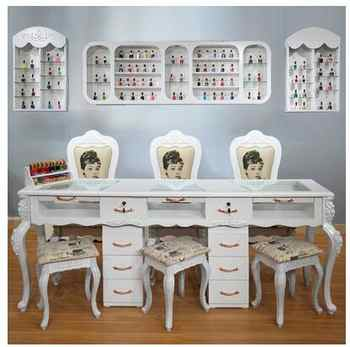 Online celebrity nail table and chair set special economical single and double three-person white nail table European nail table - DISCOUNT ITEM  27 OFF Furniture
