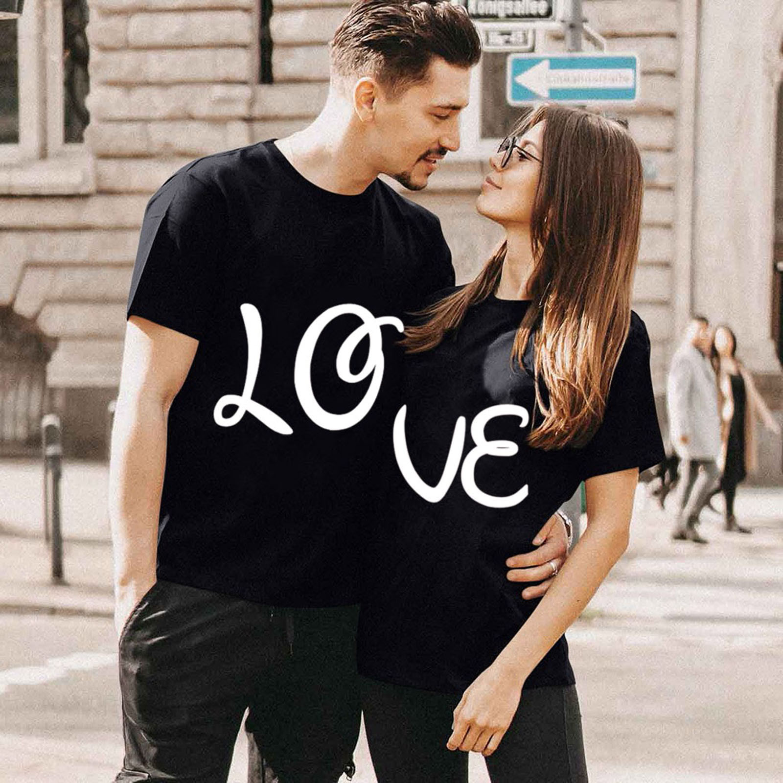 Couple Tshirts Summer Clothing Valentine's-Day-Letter-Printed Fashion Tops Short-Sleeve