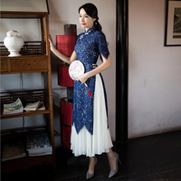 2019 Sexy Lace ao dai dress vietnam traditional clothing qipao women 2 pieces robes+skirts chinese ladies elegant dress improved