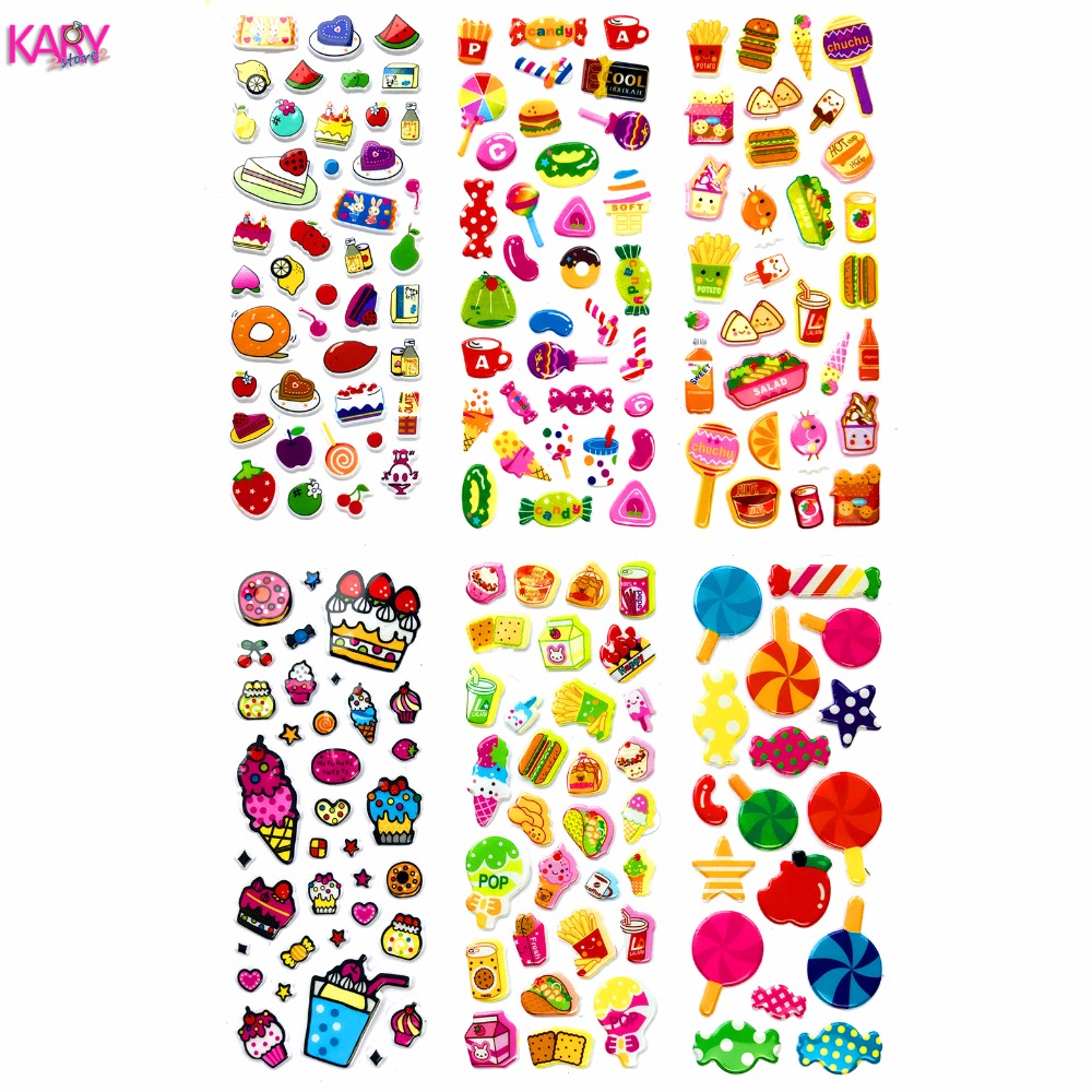 Food Snacks Lollipops Ice Cream Sweets Desserts Scrapbooking Bubble Puffy Stickers 6 Sheets Kawaii Reward Kids Toys For Children