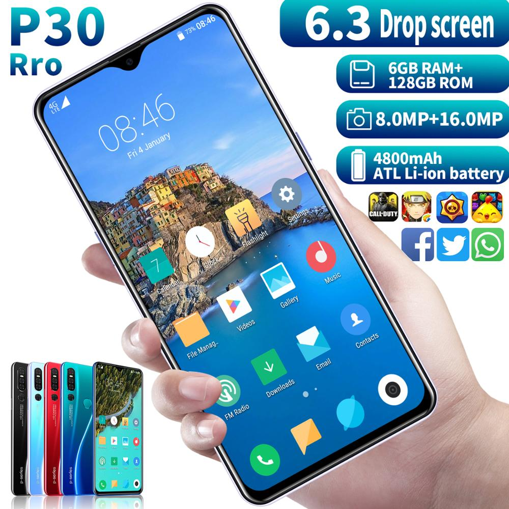SAILF P30 Pro Android 9.0 Octa Core Mobile Phone 6.3' FHD+ 16MP Triple Camera 6G RAM 128GB ROM Smartphone 4G Gsm Global Unlocked