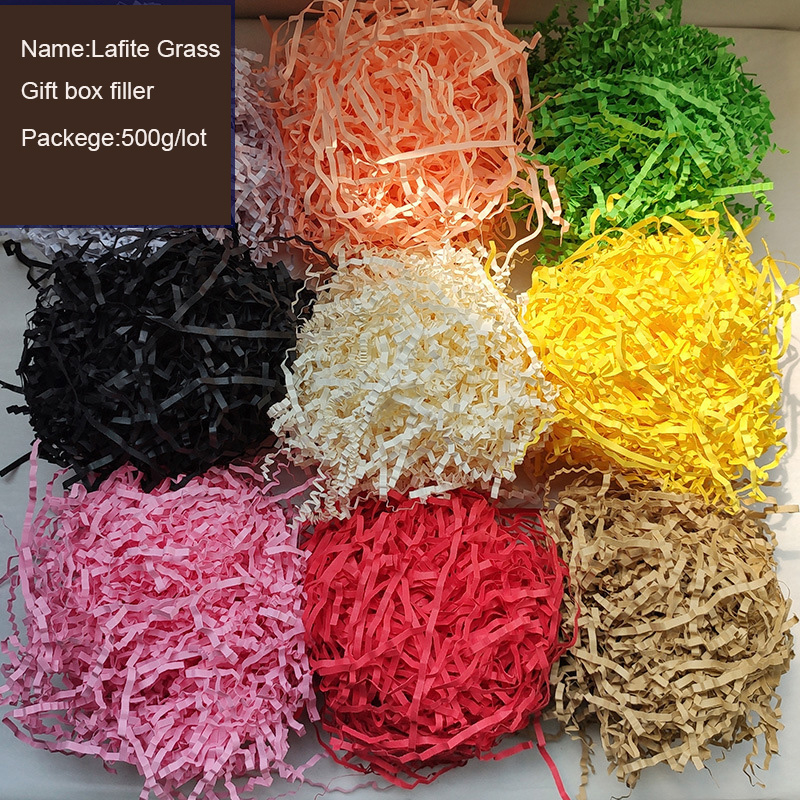 100g/lot Multiple Colour Lafite Grass Gift Box Filler Wavy Fold Paper Gift Box Decorative Fruit Packaging Shockproof Filler