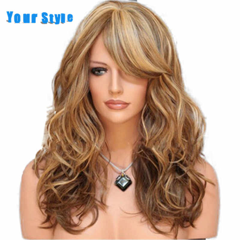 Your Style 3 Colors Long Wavy Wig Body Wave Wig Women Mixed Multi Color Synthetic Natural Hair Wig  High Temperature Fiber