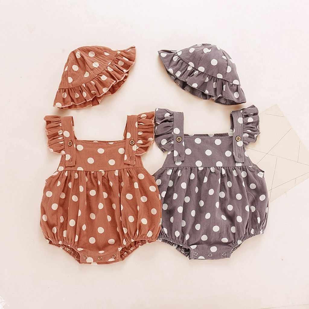 Neugeborenen Baby Mädchen Dot Print Body Sommer Ärmellose Rüschen Body + Hut Set Baby Body Infantil Kleidung Kostüm