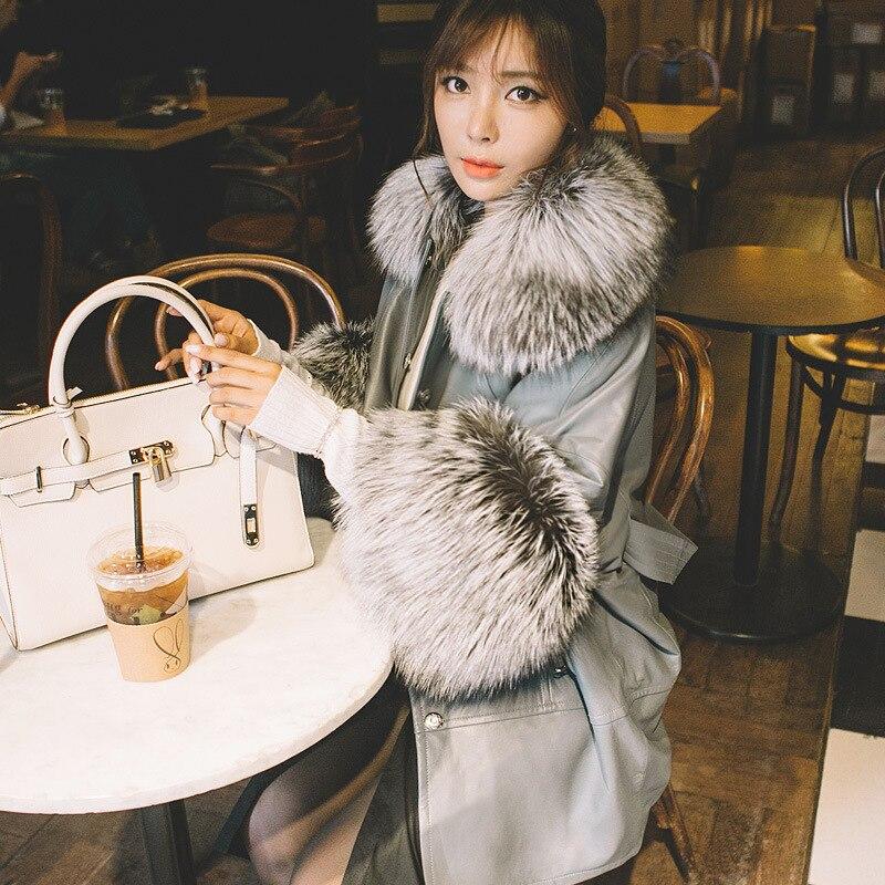 [TVVOVVIN] 2019 automne et hiver nouveaux produits mode manches chauve souris renard fourrure col en peau de mouton en cuir imitation fourrure manteau B145 - 2