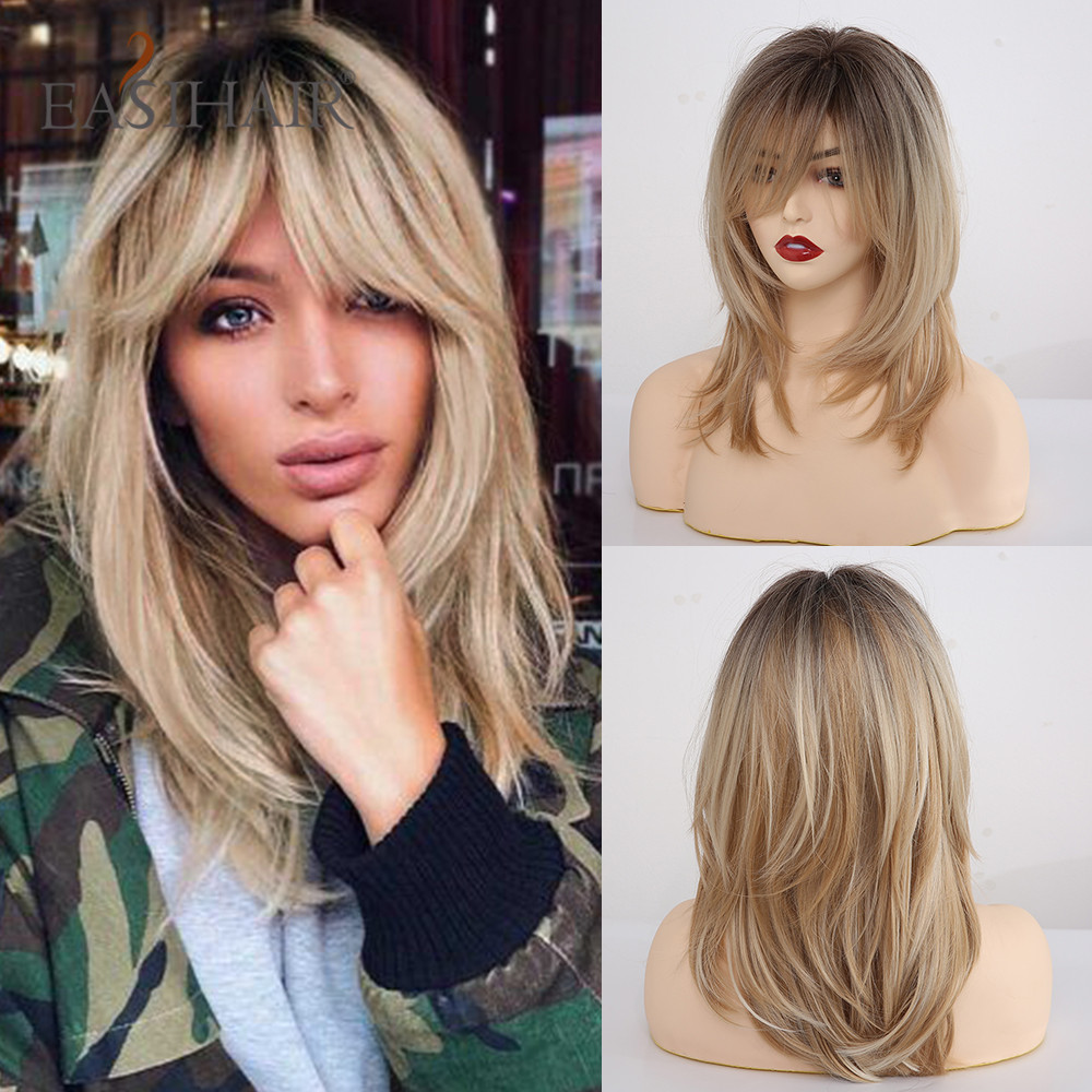 EASIHAIR Synthetic Wigs For Black Women Ombre Brown Blonde Wigs With Bangs Layered Cosplay Wigs Heat Resistant Medium Length Wig