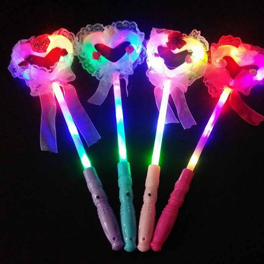 1Pcs LED Glowing Fairy Wand Toys Light Flashing Fairy Wand Princess Love Heart Stick Girl For Party Birthday Festival Xmas Decor