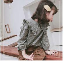 Рубашка для девочек Рубашка в клетку с большим воротником весенне-осеннее платье новая детская одежда клетчатая блузка для девочек
