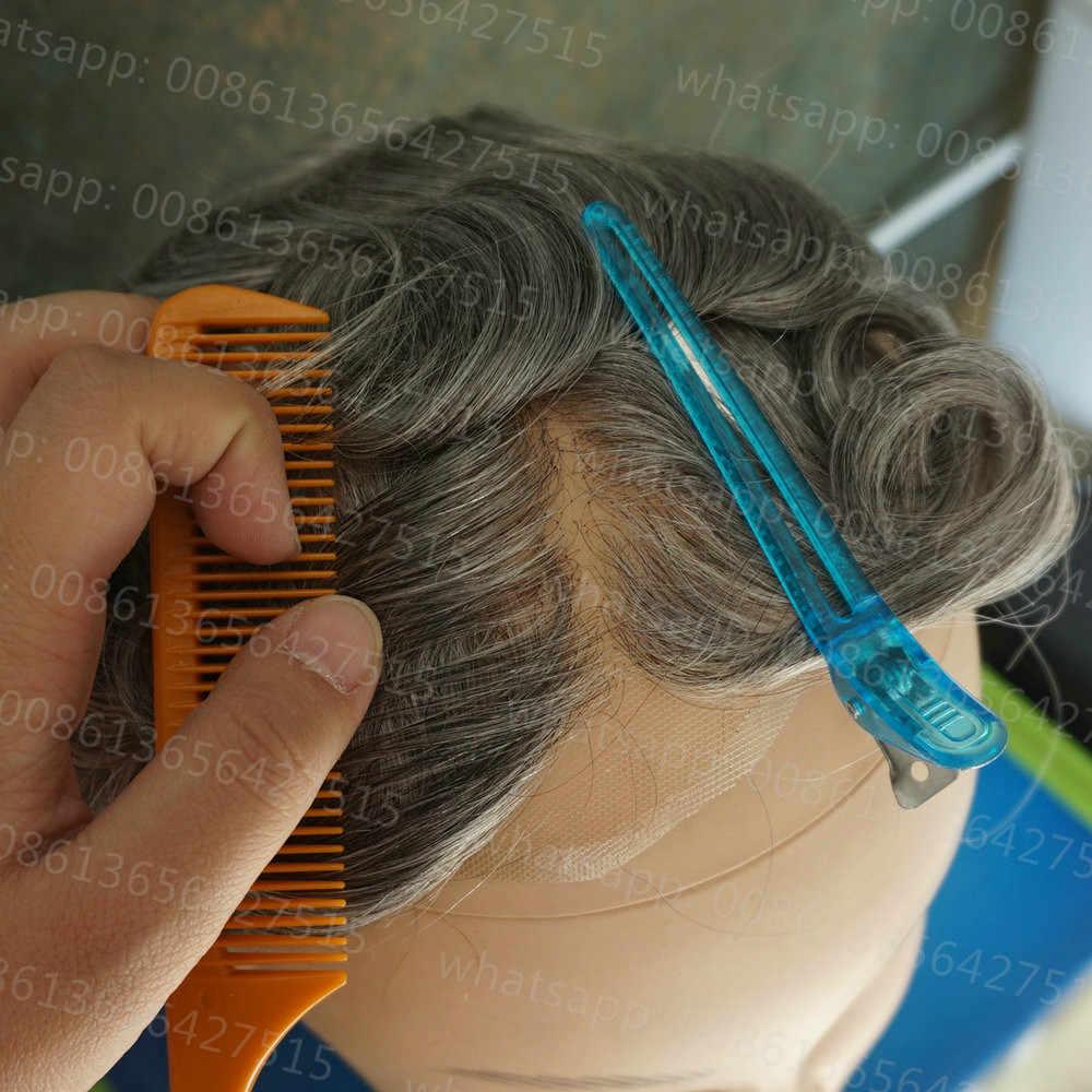 Hstonir hombres Swiss peluca con malla frontal tupé humano Remy reemplazo de la prótesis de pelo H074