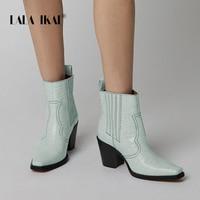 LALA IKAI Women Winter Ankle Boots Square Heels Blue Pu Leather Flock Autumn Bota Feminina Stiletto Mid Heels Boots XWC4051 4