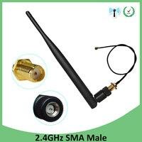אנטנה עבור 2.4G 2.4GHz wifi אנטנה 5dBi SMA מחבר זכר עבור נתב Wi Fi Booster + 21cm RP-SMA ל- ufl./ IPX 1.13 בכבלים צמה (2)