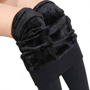 Image 2 - Zimowe legginsy dziewiarskie aksamitne legginsy na co dzień nowe wysokie elastyczne zagęścić pani ciepła, czarna spodnie spodnie obcisłe dla kobiet legginsy