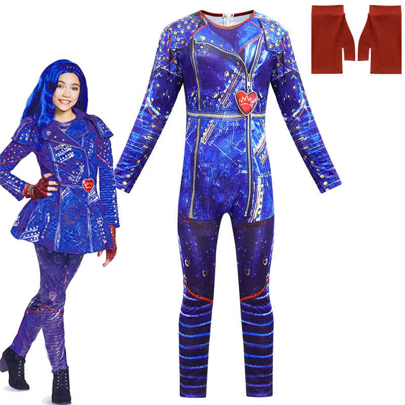Hot Selling Descendants 3 Evie Cosplay Dress Halloween Costumes For Kid Girl  Long Sleeve Jumpsuits