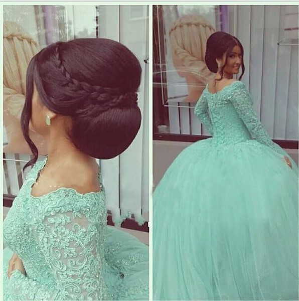 2019 Modest Mint Green Quinceanera Dresses With Long Sleeves Lace Appliques Ball Gown Tulle 16 Sweet Prom Party Gowns Vestidos