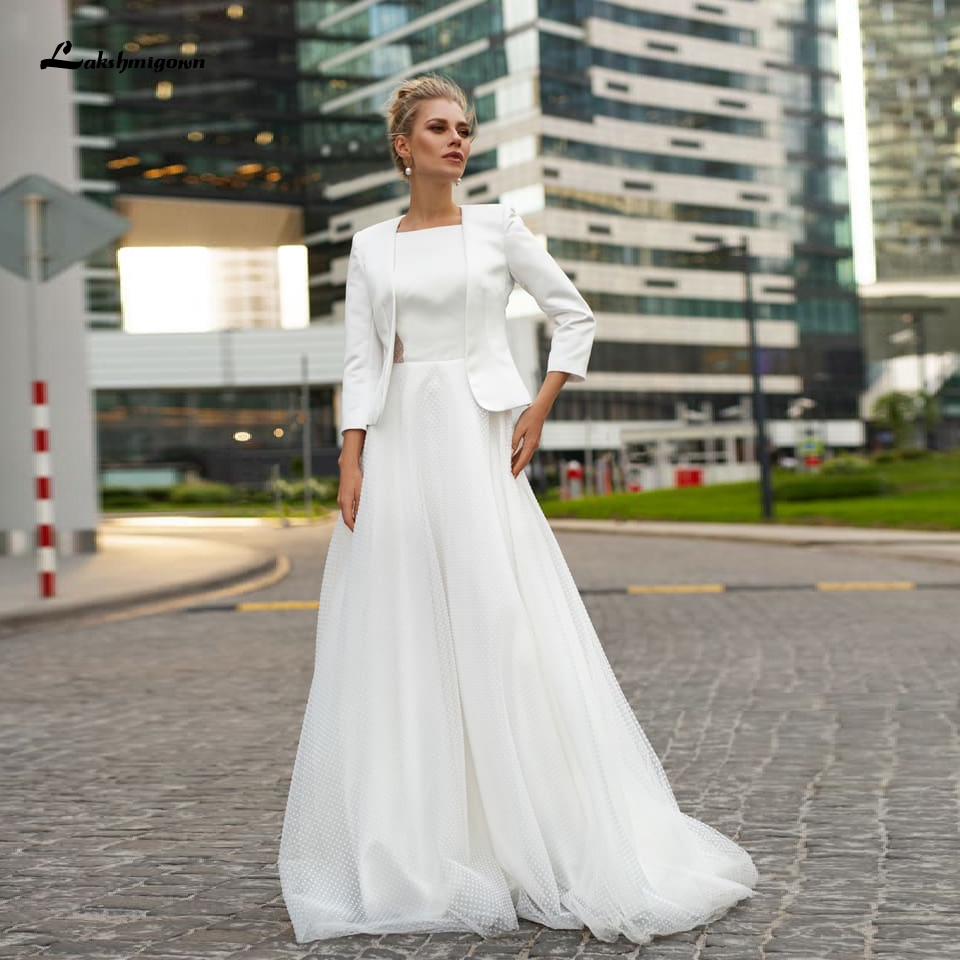 Robe De Mariee 2020 Princess White Dot Tulle Long Wedding Dress With Jacket Morden Chic Boho Bridal Dress Sexy Wedding Gowns