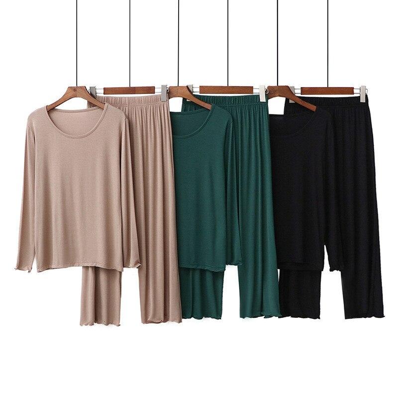 90kg Plus Size Long Sleeve Soft Modal Home Clothes For Women 2 Pieces Set Big Size Homewear Female Modal Pajamas Set Sleepwear