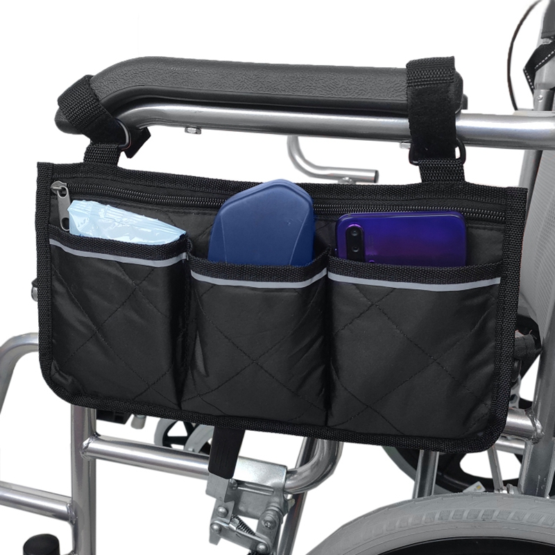 NEW-Wheelchair Side Bag For Back Wheelchair Storage Bag Pouch Fits Most Bed Rail Scooters Walker Power & Manual Electric Wheelch