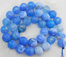 "+++818 Faceted 10mm Blue Dream Fire Dragon Veins Round Gems Loose Beads 15""(China)"