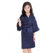 Летние повседневные однотонные тонкие халаты для маленьких девочек; детское шелковое атласное кимоно для девочек; банный халат; одежда для сна; кардиган; пижамы; От 2 до 12 лет