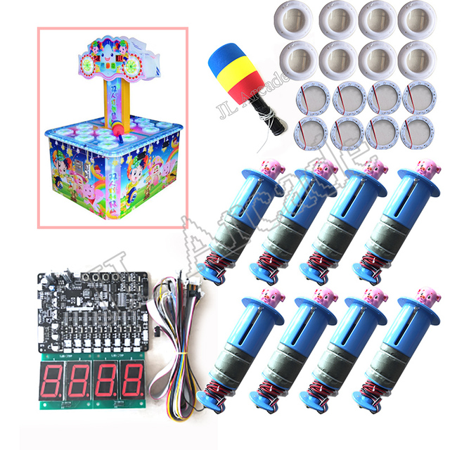 Full kit with Motherboard, 8 hitting heads for kids coin operated arcade games whac a mole hit mouse  hammer game machine