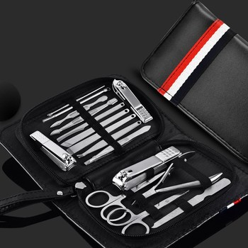 16 Piece Stainless Steel Nail Clipper Set Nail Scissors Beauty Nail Pedicure Tool Manicure Sickle Pusher Nail Care with Case 16pcs set nail clipper cutter file manicure pedicure tool with faux leather case