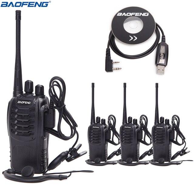 2Pcs 4Pcs Baofeng BF 888S מיני מכשיר קשר UHF אינטרקום BF888S CB שתי דרך רדיו כף יד רדיו 888s + 4 אוזניות