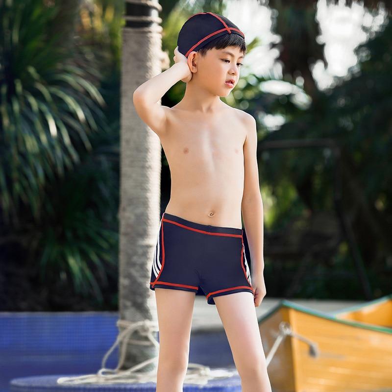 Children Bathing Suit BOY'S Medium-small Big Kid Swimming Trunks Quick-Dry Boy AussieBum Send Swimming Cap Cartoon Tour Bathing