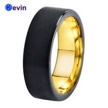 Мужское обручальное кольцо Черное золото карбид вольфрама плоская