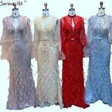 Dubai cinza com decote em v sereia luxo vestidos de noite 2020 sem mangas penas miçangas xale fio formal vestido sereno hill la70421
